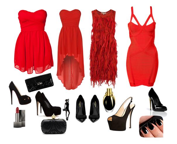 Yılbaşı kırmızı abiye elbise modelleri abiye çanta ve topuklu