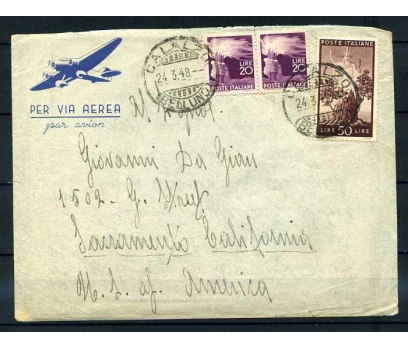 İTALYA 1948 UÇAK  POSTASI PER VIA AEREA