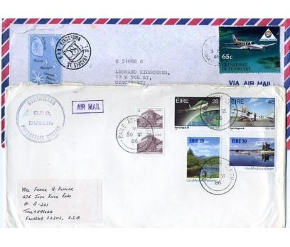 GRENADİNES&İRLANDA 1986-89 UÇAK P.PG 2 ZARF(YZ-2)