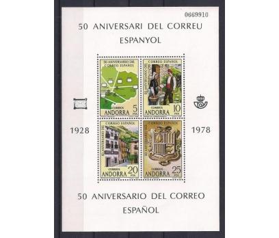 1978 İspanya Andorra Postaları 50. Yıl Damgasız**