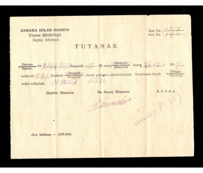 ANKARA SULAR İDARESİ-UMUM MÜD.TUTANAK 1957