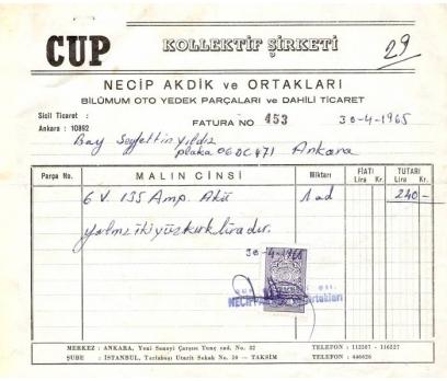 CUP-KOLL.ŞTİ.-ANKARA 1965 FATURA.