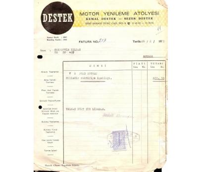 DESTEK-MOTOR YENİLEME-ANKARA 1973 FATURA.