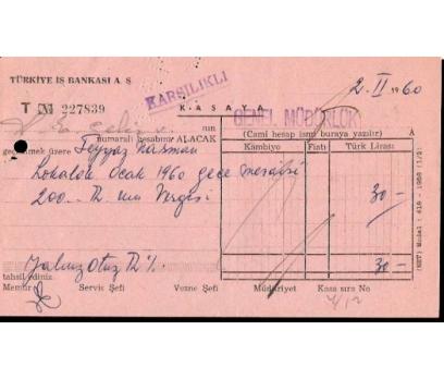 İŞ BANKASI KASA MAKBUZU 1960 YILI