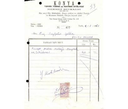 KONYA-KAYNAK VE TORNA-ANKARA 1961 FATURA.