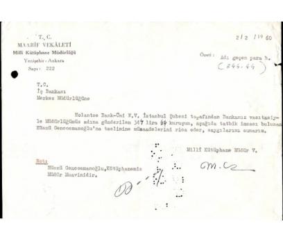MAARİF VEKALETİ ALINDI MAKBUZU 1960