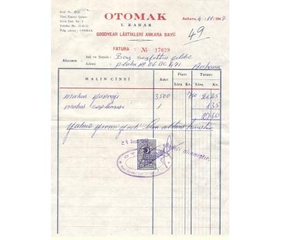 OTOMAK-GOODYEAR LASTİK-ANKARA 1967 FATURA.