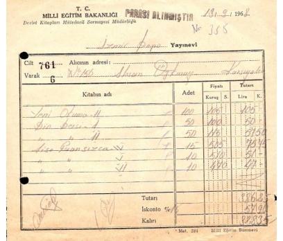 T.C. MİLLİ EĞİTİM BAKANLIĞI-MAKBUZU 1968