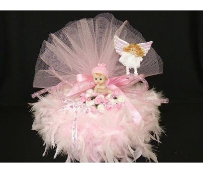 Kaztüylü Bebek Bezi Pastası-pembe