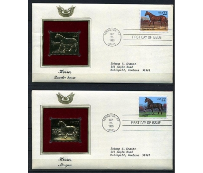 ABD 4 GOLD FDC 1985 ATLAR TAM SERİ (180315)