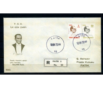 CUMH.FDC 1970 ATATÜRK SÜREKLİ S. BAHADIR (280215)