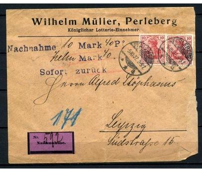 REİCH 1907 KLASİK İKİ PULLA POSTADAN G.Z.(080415)