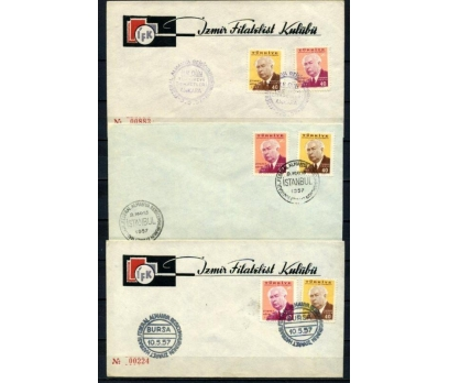 CUMH.FDC 1957 ALMAN CB ZİYARETİ 3 ZARFTA (210515)