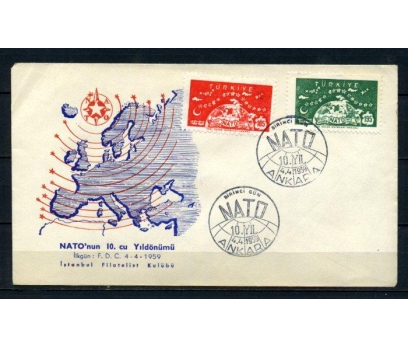 CUMH.FDC 1959 NATO'NUN 10.YILI SÜPER (210515)