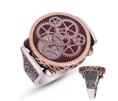 Gümüş Bordo Saat Çarkı Erkek Yüzük