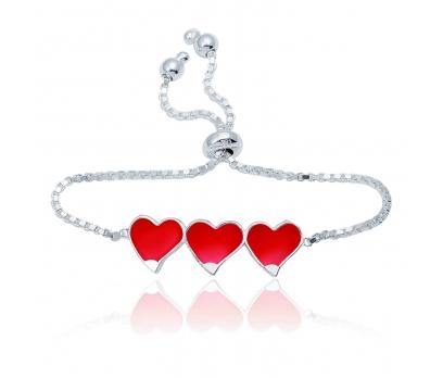 Gümüş Kırmızı Üç Kalp Çocuk Bileklik