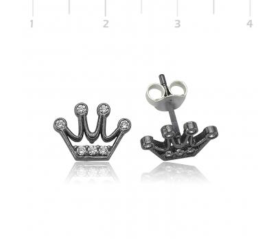 Gümüş Kraliçe Tacı Bayan Küpe