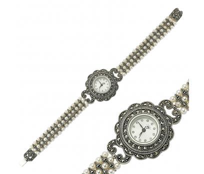 Gümüş Markazit Taşlı Bayan Saat