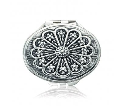 Gümüş Papatya Motifli Kapaklı Oval Ayna