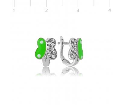 Gümüş Yeşil Kelebek Çocuk Küpe