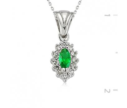 Gümüş Yeşil Mekik Bayan Kolye