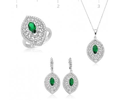 Gümüş Yeşil Mekik Taşlı Hürrem Set
