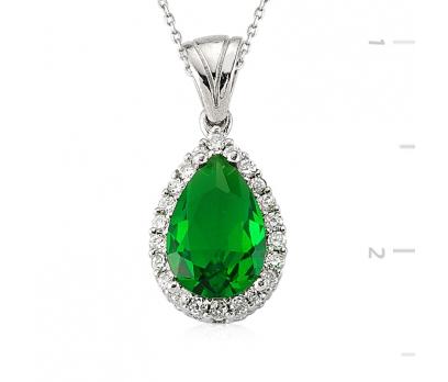 Gümüş Yeşil Taşlı Damla Bayan Kolye