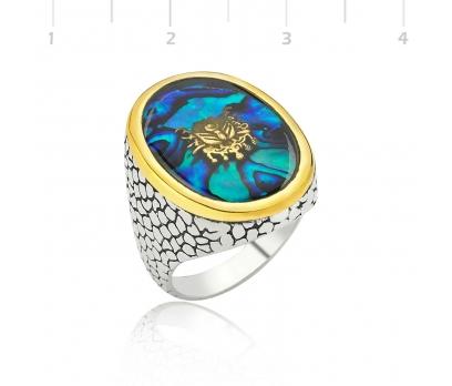 Mavi Sedef Üzerine Osmanlı Armalı Gümüş Oval Yüzük