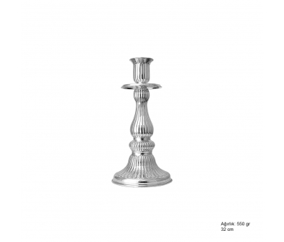 Rodyum Kaplama Gümüş Şamdan
