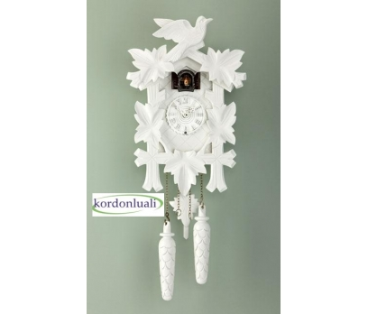Guguklu Saat Ahşap Kasa Kuşlu 35 Cm Pilli Beyaz