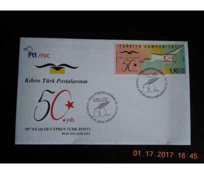 2014 KIBRIS T. POSTALARININ 50. YILI  F.D.C.