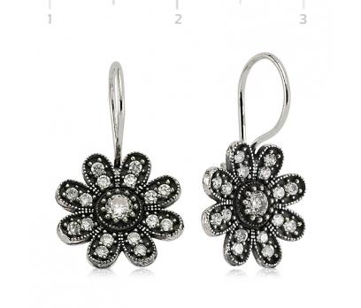 Gümüş Çiçek Bayan Küpe