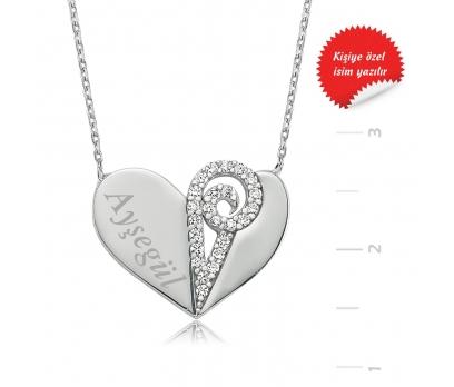 Gümüş İsimli Kalp Bayan Kolye