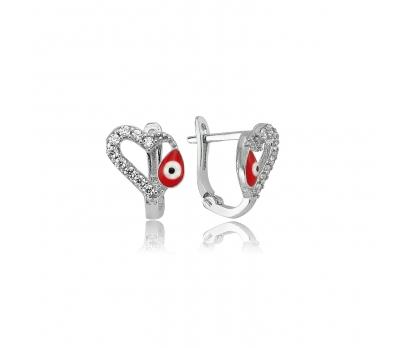 Gümüş Kırmızı Mineli Kalp Küpe