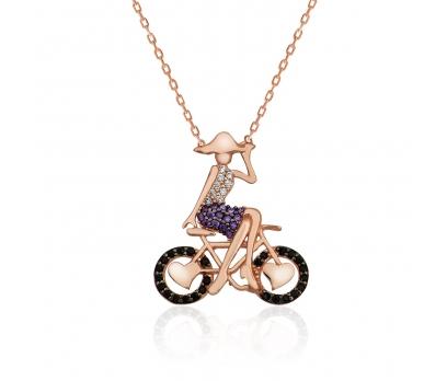 Gümüş Bisikletli Kız Kolye