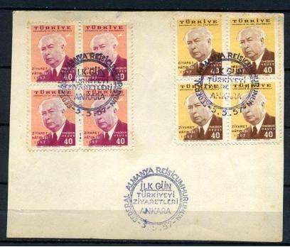 CUMH.FDC 1957 ALMAN C.NIN ANKARA Z. DBL (K005)