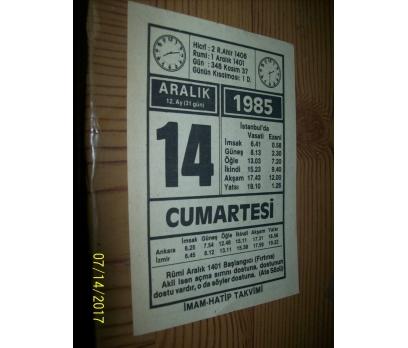 14 Aralık 1985 Cumartesi - Takvim Yaprağı