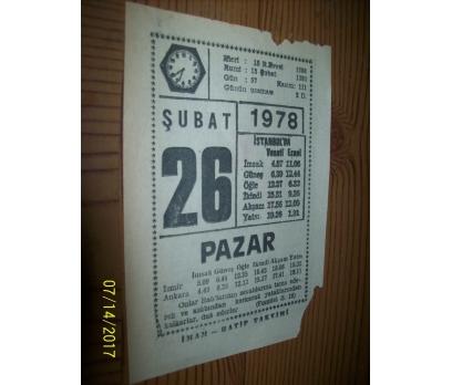 26 Şubat  1978 Pazar - Takvim Yaprağı