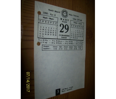29 Mart 1980 Cumartesi - Takvim Yaprağı