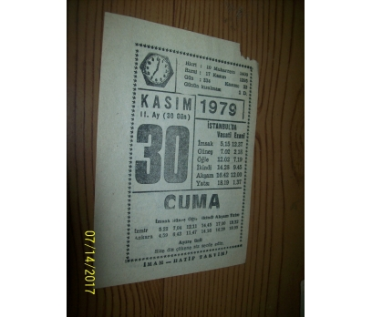 30 Kasım 1979 Cuma - Takvim Yaprağı