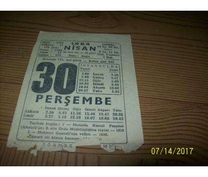 30 Nisan 1964  Perşembe - Takvim Yaprağı