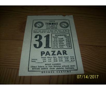 31 Temmuz Pazar 1977 Takvim Yaprağı