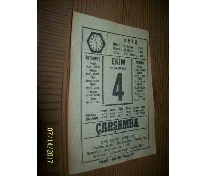 4 Ekim  1972 Çarşamba - Takvim Yaprağı
