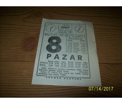 8 Şubat  1970 Pazar - Takvim Yaprağı