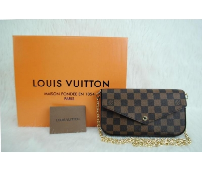 LOUİS VUİTTON FELİCE  DAMIER CANVAS HAKİKİ DERİ