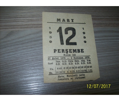 12 Mart 1959  Perşembe - Takvim Yaprağı