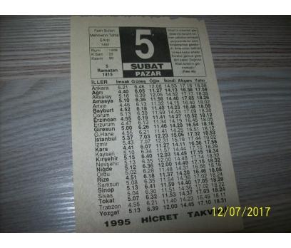 5 Şubat 1995 Pazar - Takvim Yaprağı