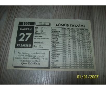 27 HAZİRAN 1994 PAZARTESİ Takvim Yaprağı