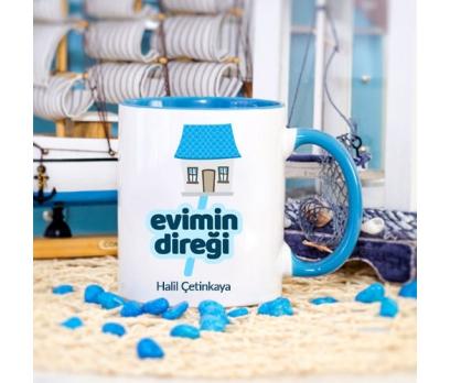 Kişiye Özel Evimin Direği Tasarımlı Mavi Kupa Bardak - tk3398