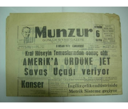 D&K-MUNZUR GAZETESİ 8 NİSAN 1972 CUMA.